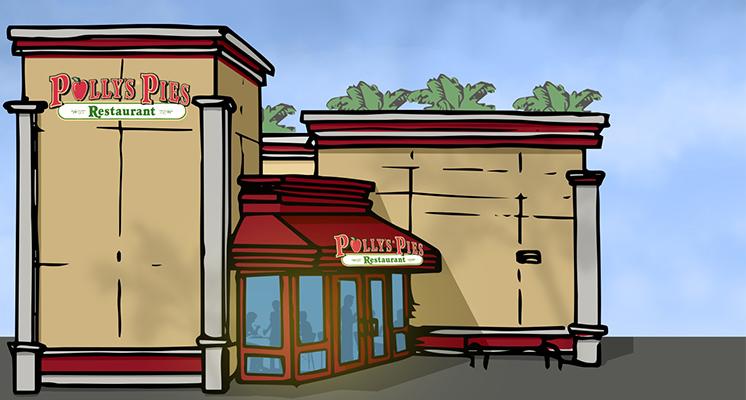 Illustration of restaurant exterior